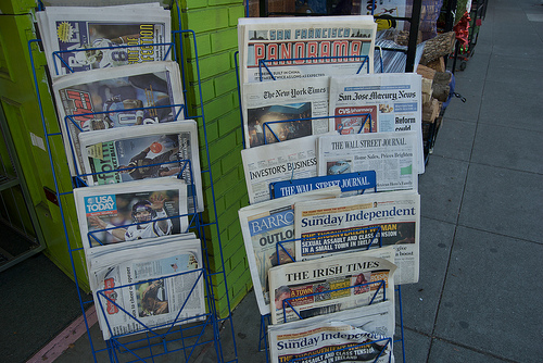 McSweeney's San Francisco Panorama amid New York Times & other newspapers at West Portal Daily