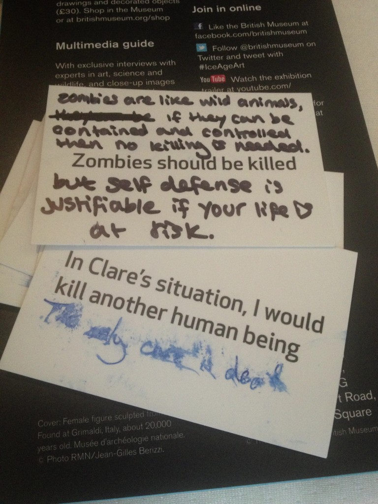 Statement cards, defaced
