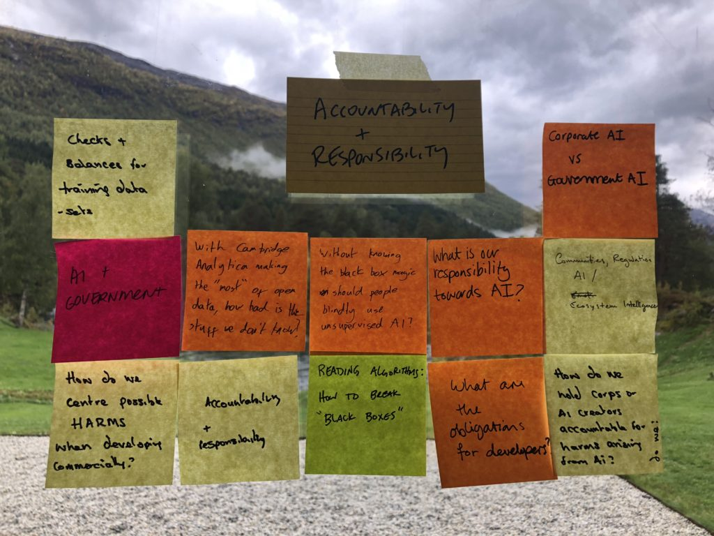 A selection of questions on post-its dealing with the topic of accountability and responsibility in AI