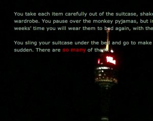 Detritus screenshot showing text, a link and the Westfield tower in Sydney